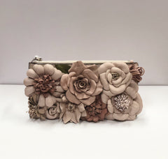 Primp My Purse Oroton Leather Flower Clutch/Wallet in Pale Pink
