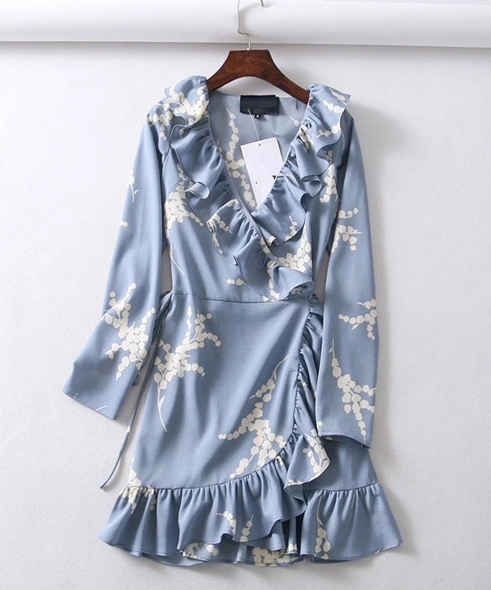 Ruffled Wrap Mini Dress in Baby Blue Print - Lookbook Boutique