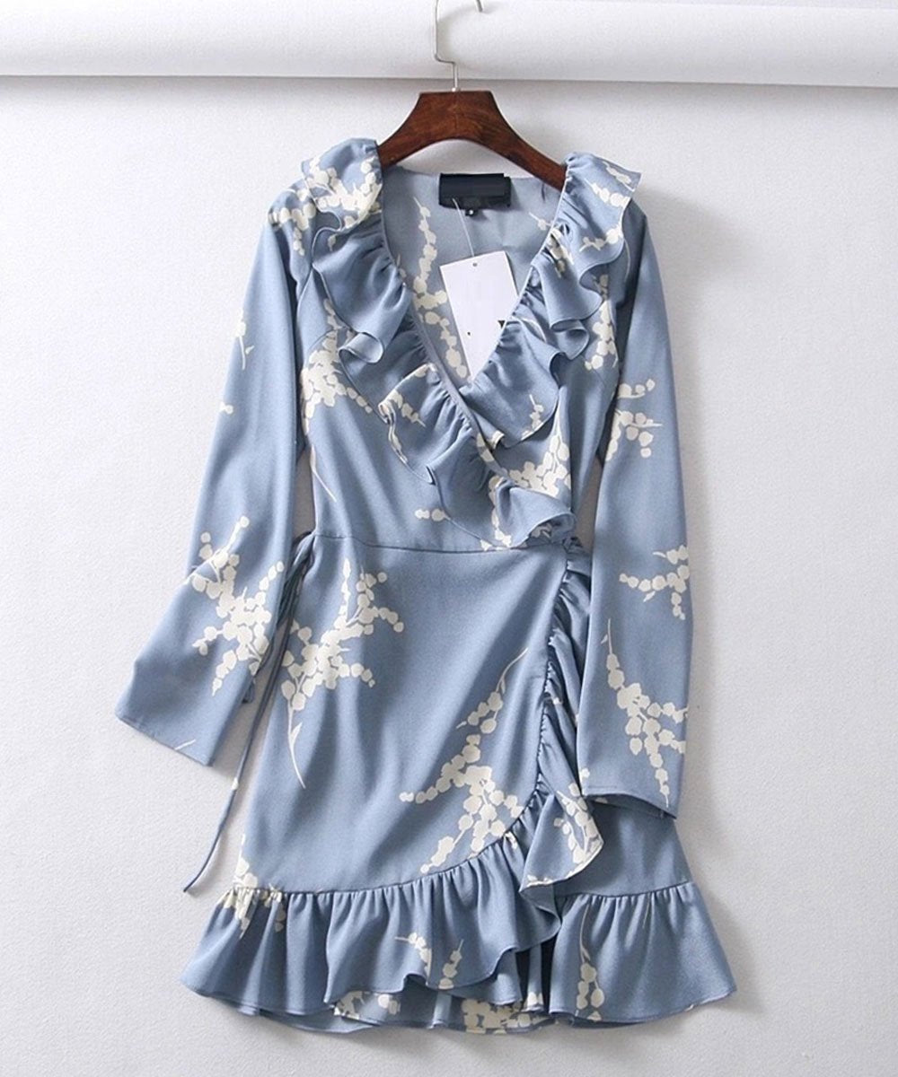 Ruffled Wrap Mini Dress in Baby Blue Print-Lookbook Boutique