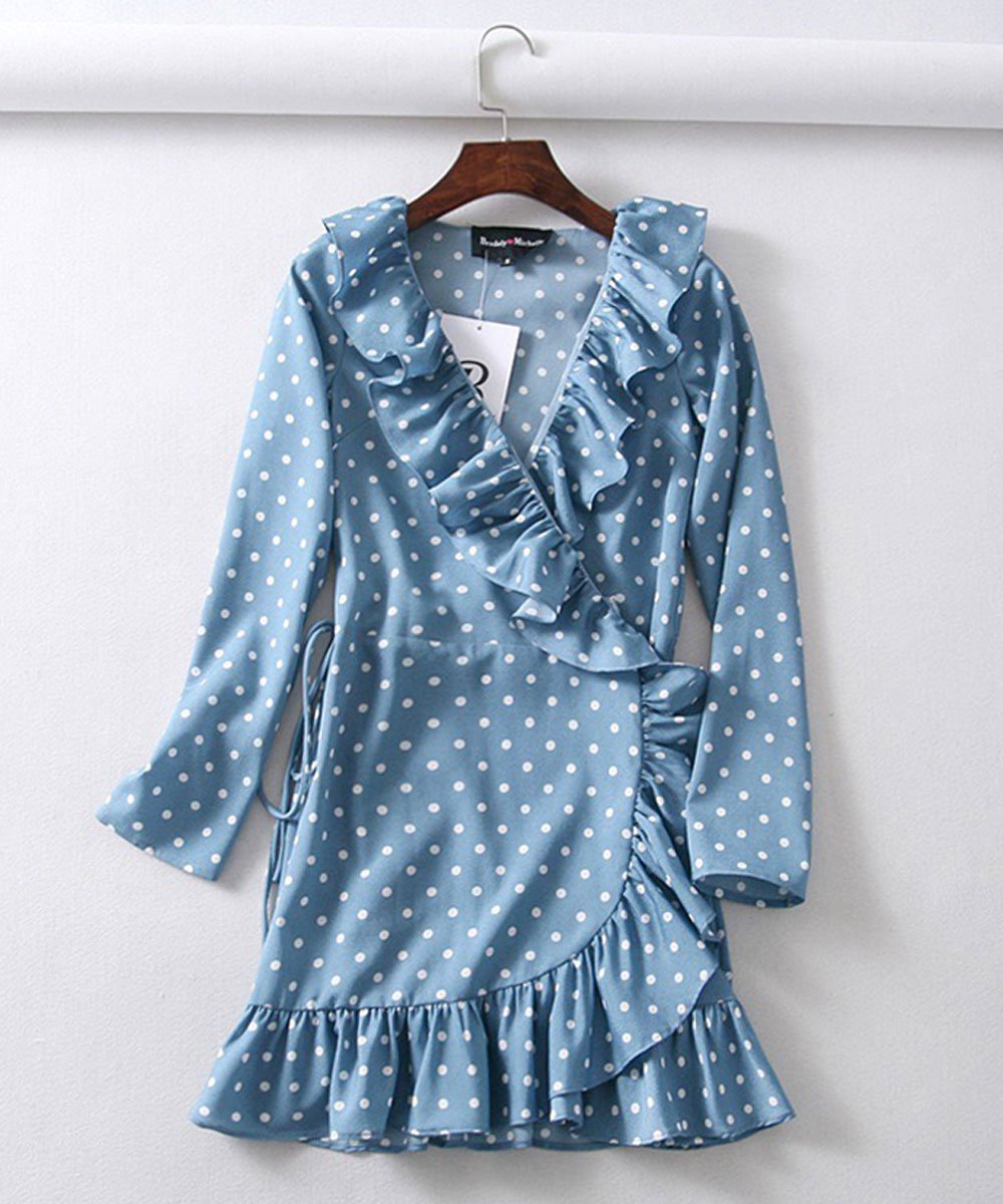 Ruffled Wrap Mini Dress in Duck Egg Blue Dots - Lookbook Boutique