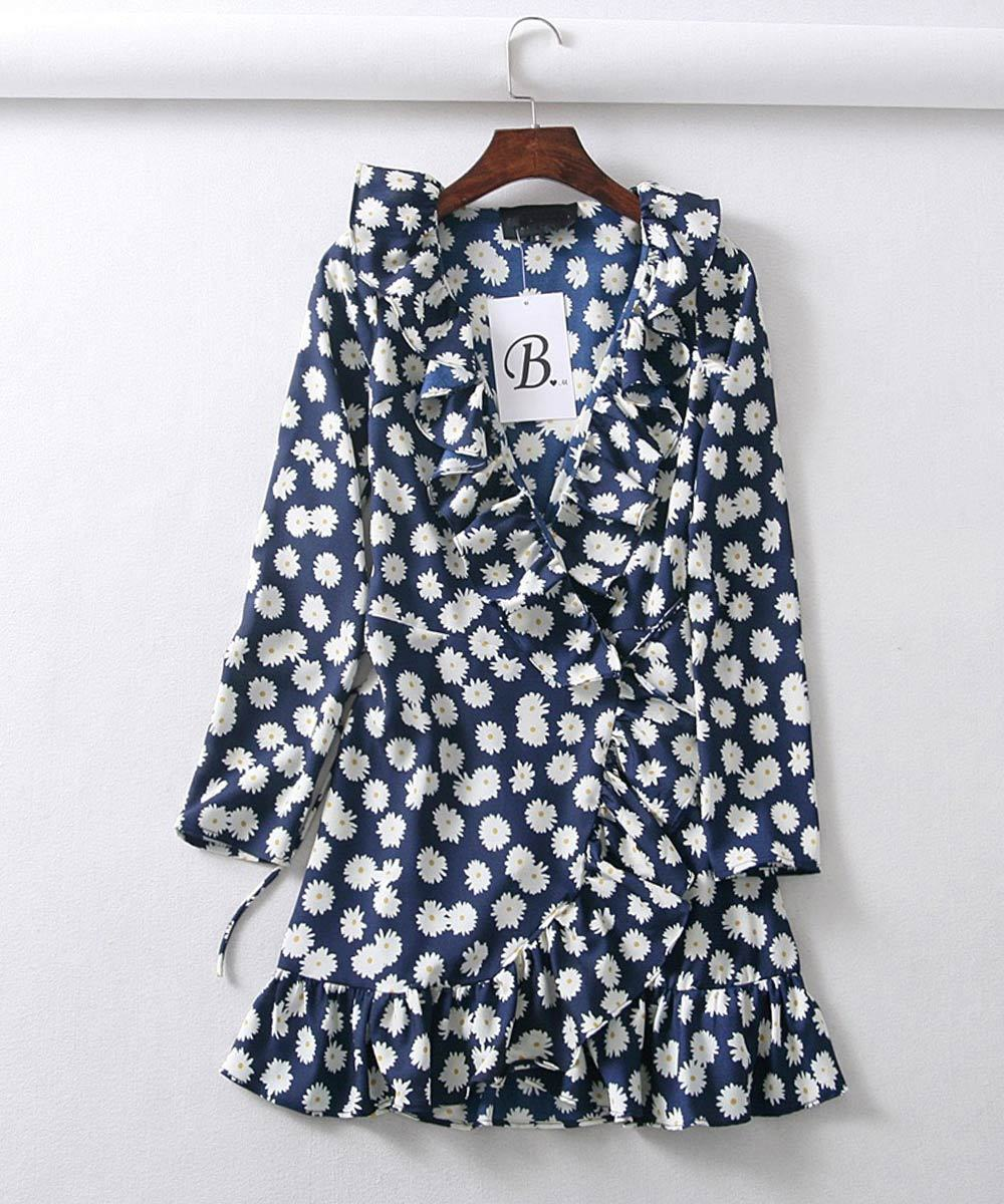 Ruffled Wrap Mini Dress in Navy Floral-Lookbook Boutique