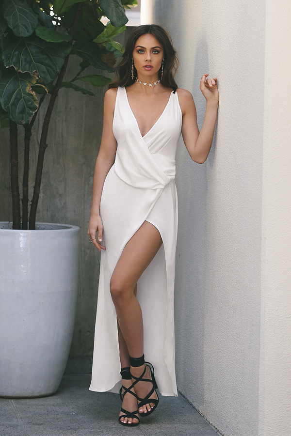 Runaway The Label Olivia Wrap Front Split Maxi Dress in White-Lookbook Boutique