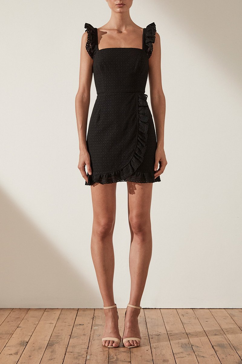 Shona Joy Ackley Fitted Mini Dress in Black - Lookbook Boutique