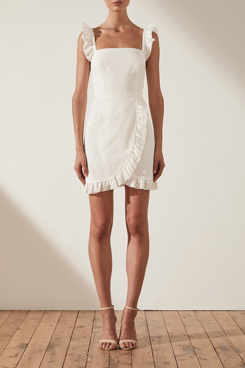 Shona Joy Ackley Fitted Mini Dress in White - Lookbook Boutique