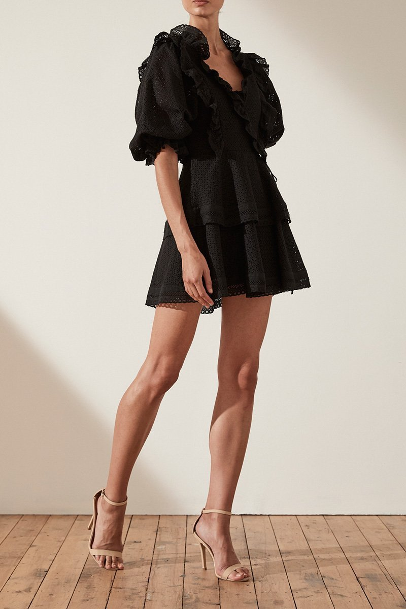 Shona Joy Ackley Puff Sleeve Mini Dress in Black - Lookbook Boutique