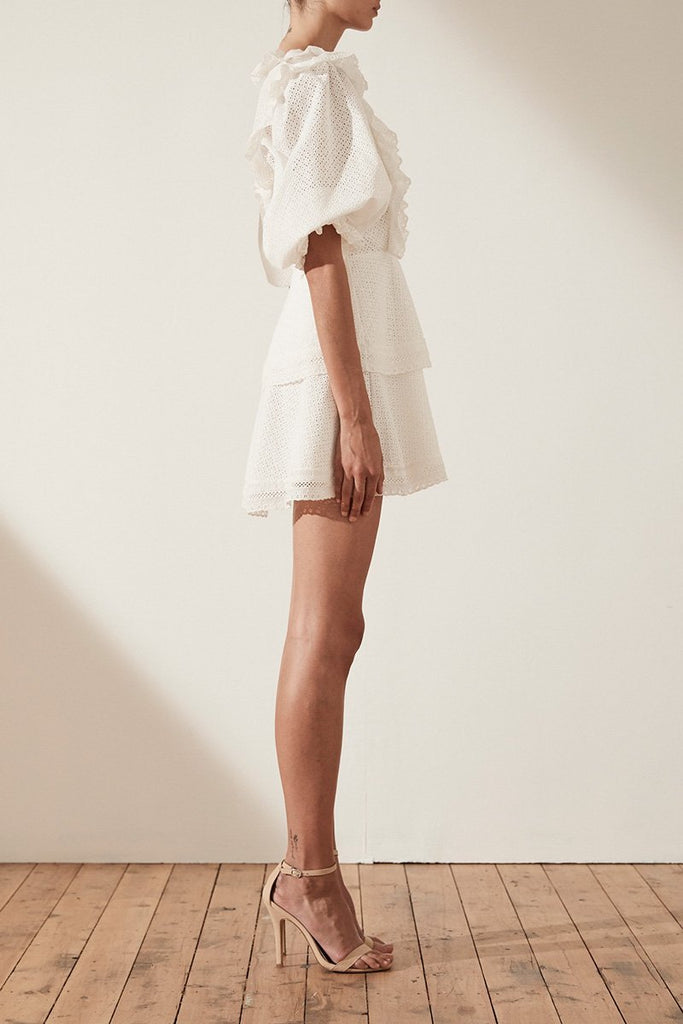 Shona Joy Ackley Puff Sleeve Mini Dress in White - Lookbook Boutique