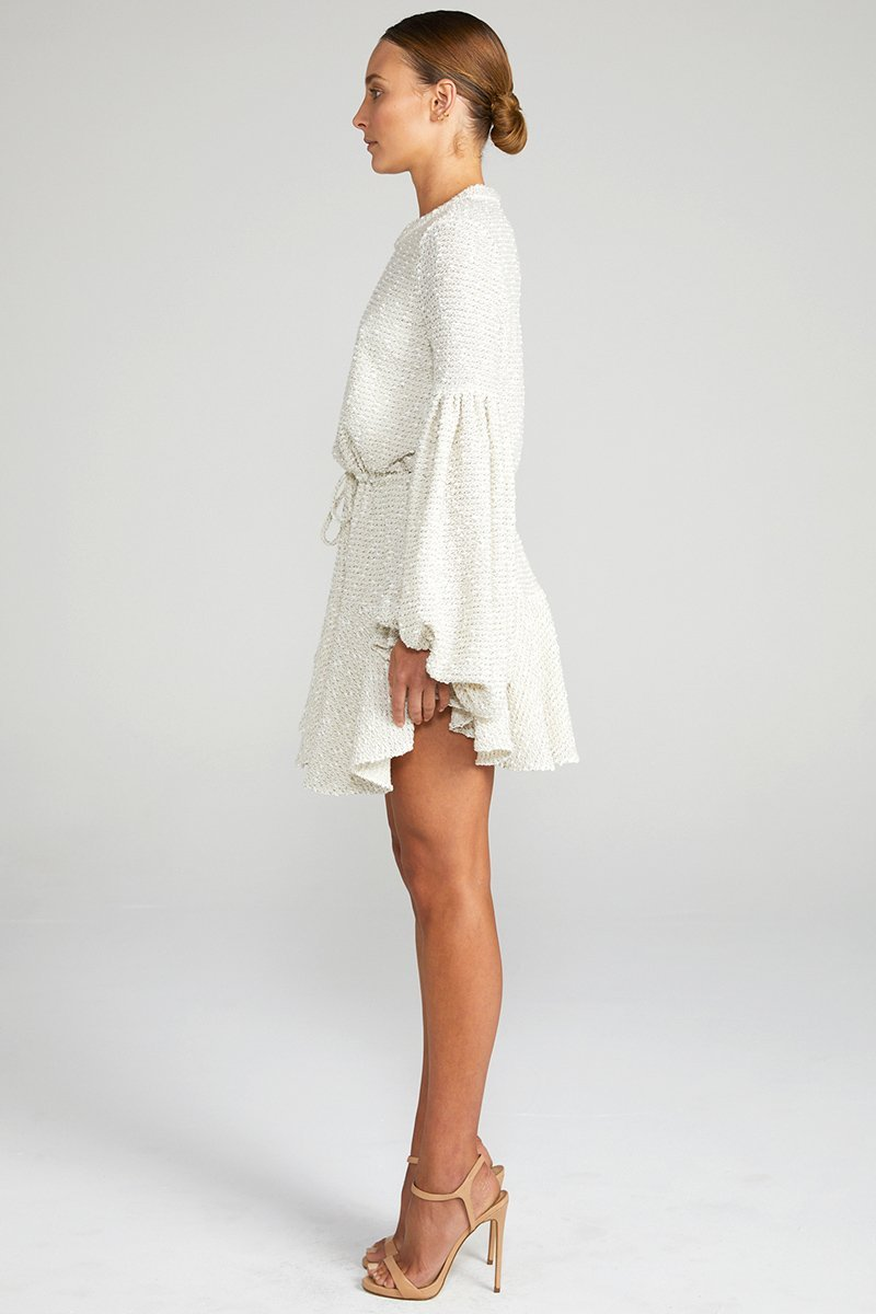Shona Joy Aimee Balloon Sleeve Drawstring Waist Knitted Mini Dress in Cream Fleck - Lookbook Boutique