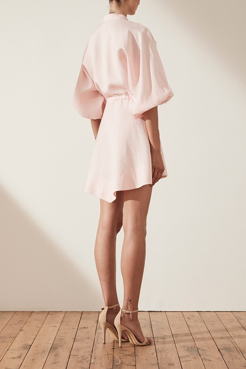 Shona Joy Brooke Balloon Sleeve Shirt Mini Dress in Pastel Pink - Lookbook Boutique