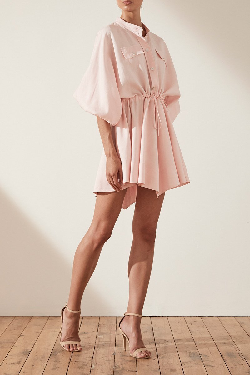 Shona Joy Brooke Balloon Sleeve Shirt Mini Dress in Pastel Pink-Lookbook Boutique