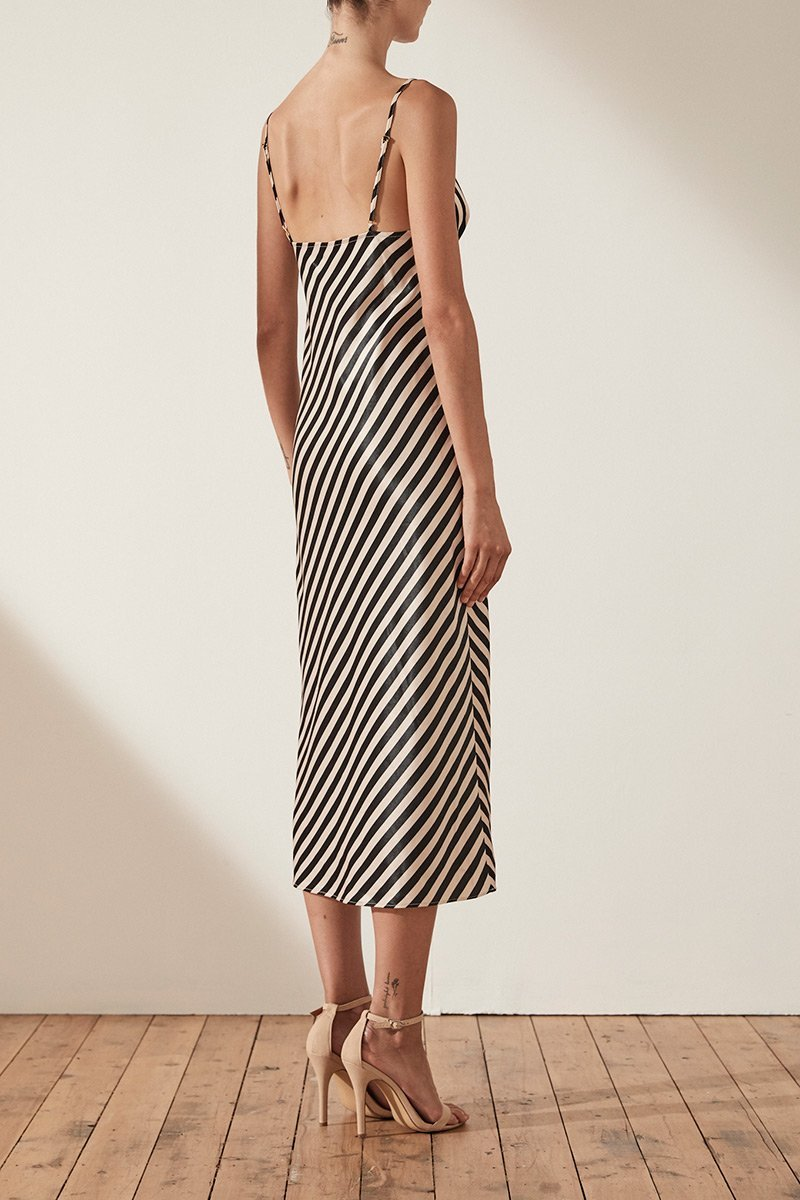 Shona Joy Duke Bias Slip Midi Dress in Nude/Black Stripe - Lookbook Boutique