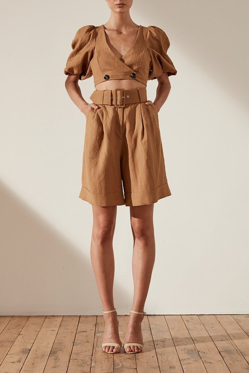 Shona Joy Gaia High Waist Bermuda Linen Short w/ Belt In Nutmeg-Lookbook Boutique