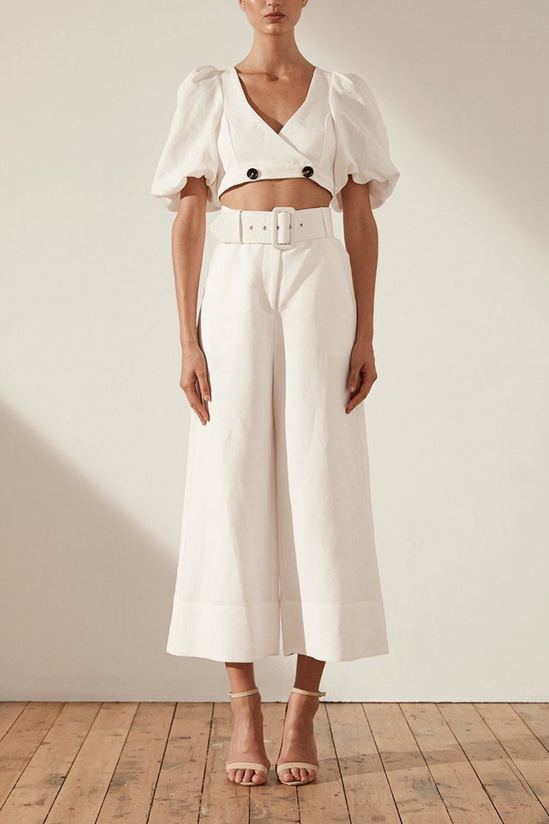 Shona Joy Gaia High Waist Linen Culottes w/ Belt In Ivory-Lookbook Boutique
