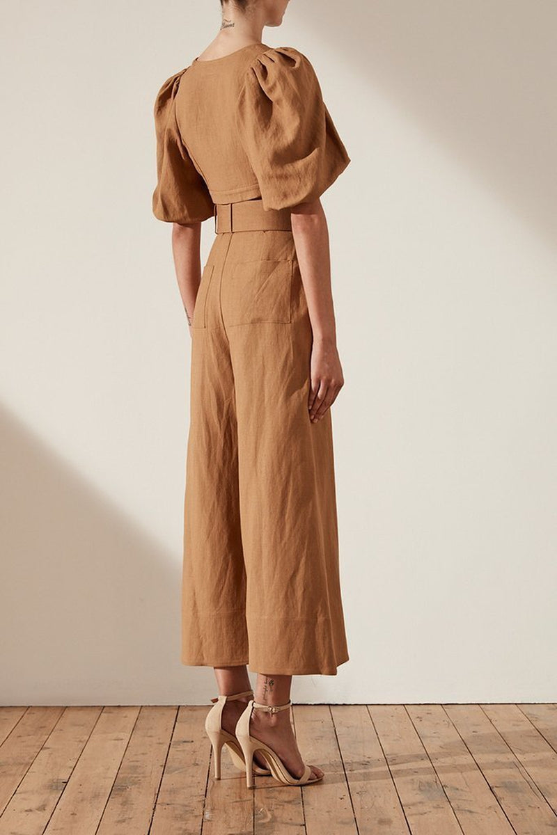 Shona Joy Gaia High Waist Linen Culottes w/ Belt In Nutmeg-Lookbook Boutique