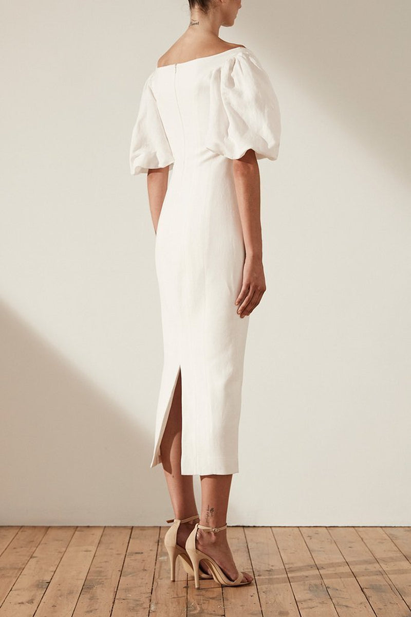 Shona Joy Gaia OTS Fitted Linen Midi Dress in Ivory - Lookbook Boutique