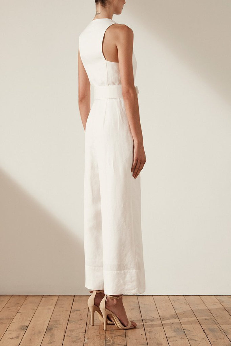 5ac50fba7d ... Shona Joy Gaia Pleat Front Linen Jumpsuit w  Belt in Ivory - Lookbook  Boutique. Size. 6