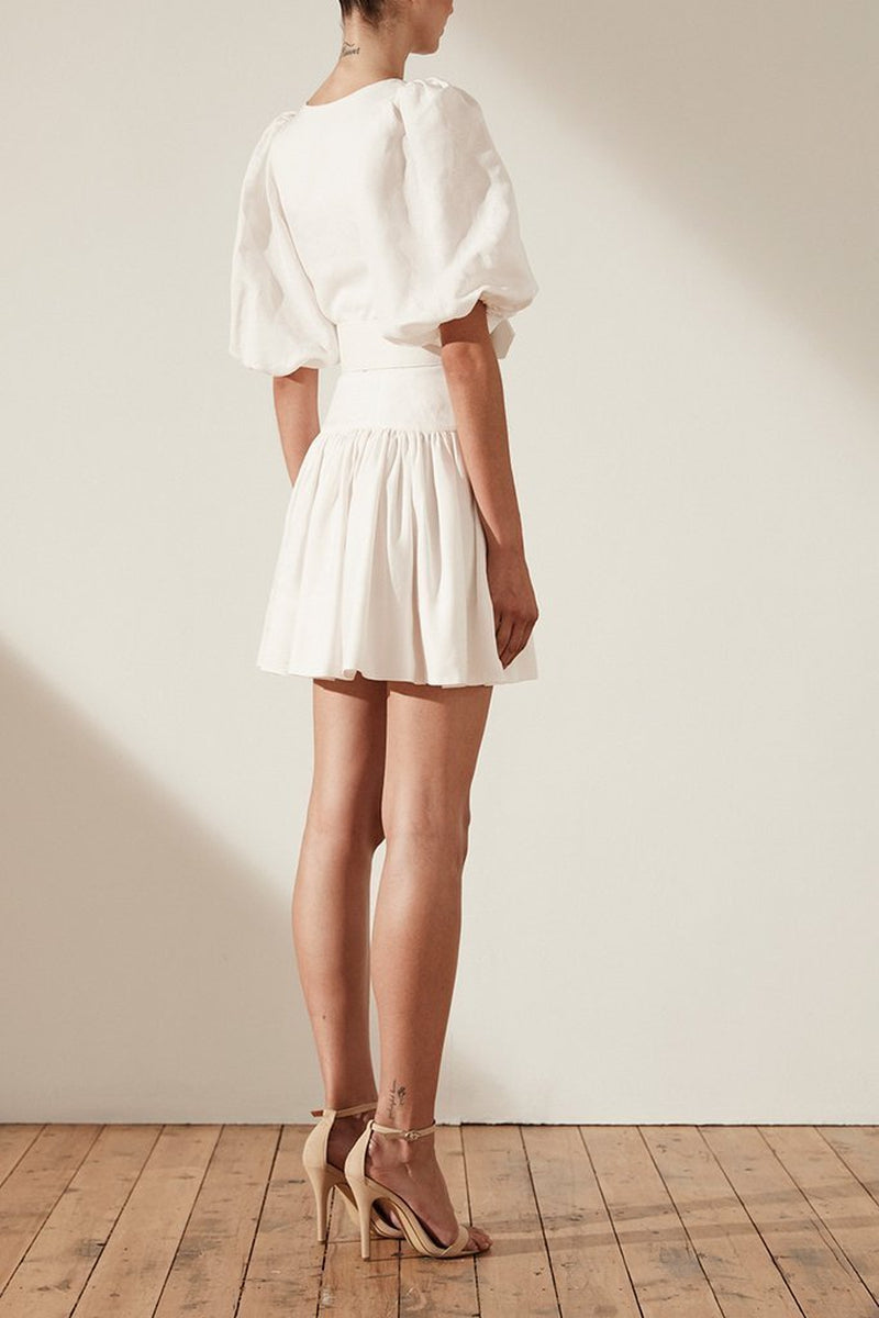 750c025fe5 Shona Joy Gaia Puff Sleeve Drop Waist Linen Mini w  Belt in Ivory ...