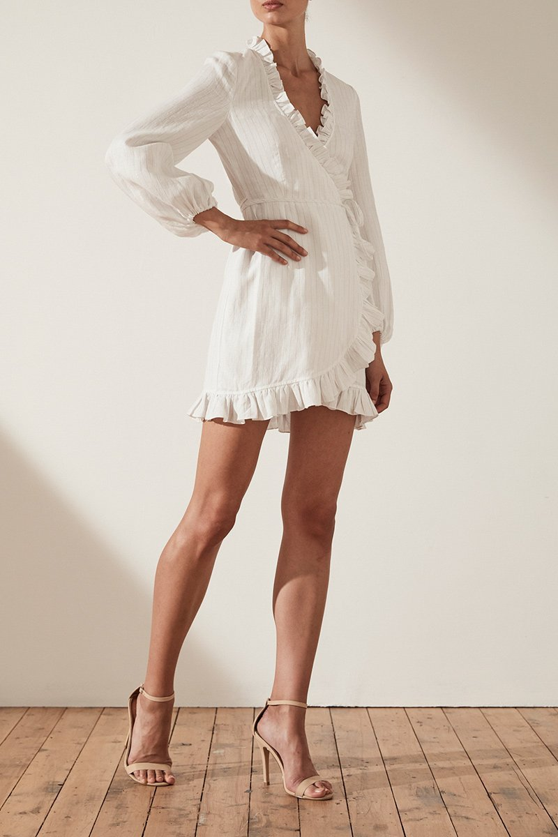 Shona Joy Holden Wrap Mini Dress in White/Gold - Lookbook Boutique