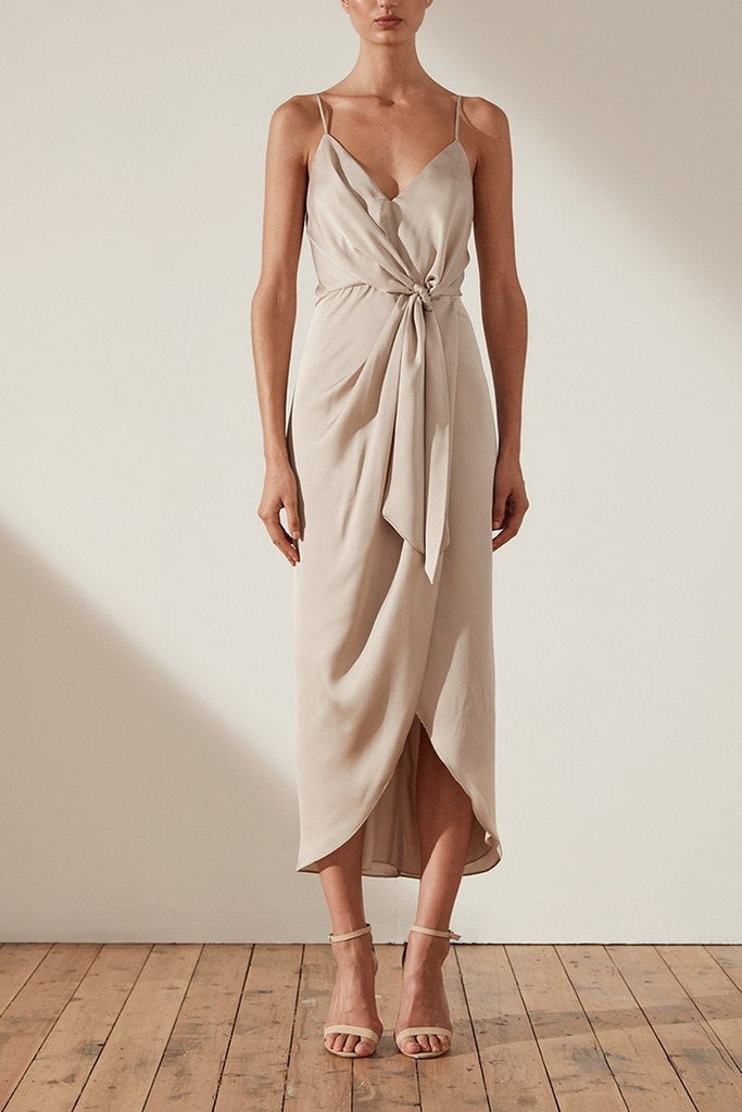 Shona Joy Oro Tie Front Cocktail Draped Midi Dress in Taupe - Lookbook Boutique