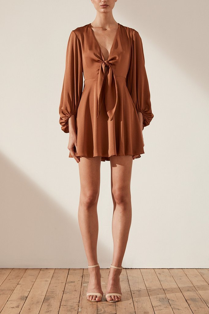 Shona Joy Oro Tie Front Mini Dress in Mocha - Lookbook Boutique