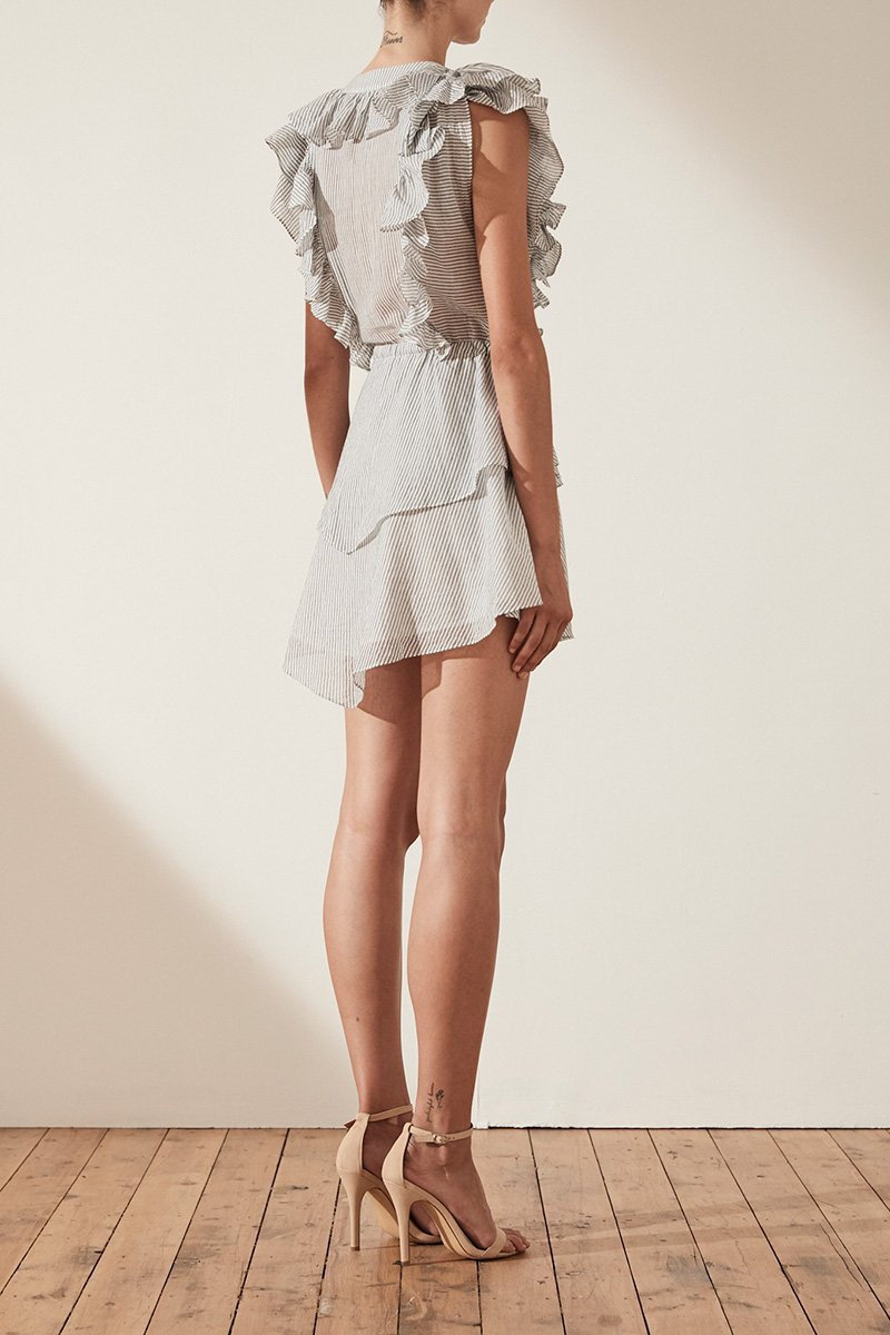 Shona Joy Rye Ruffle Drawstring Mini Dress in Navy/White - Lookbook Boutique