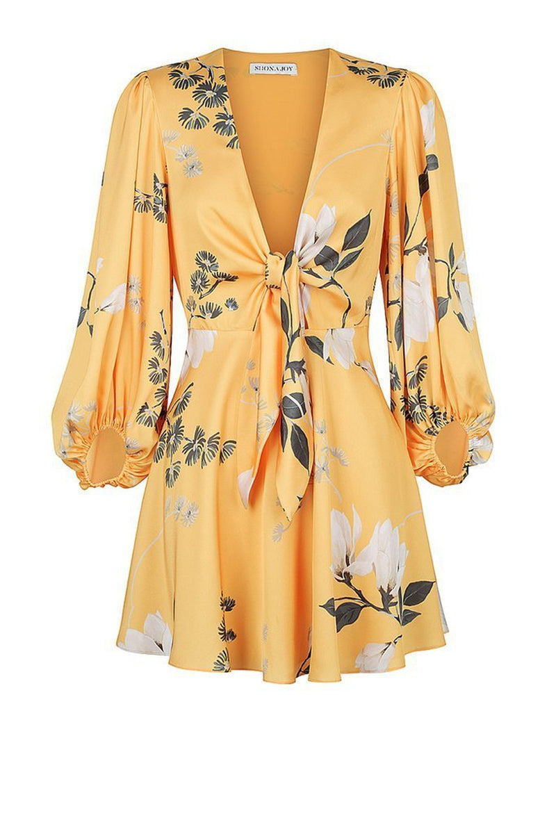 Shona Joy Rylant Knot Front Mini Dress in Yellow Floral - Lookbook Boutique