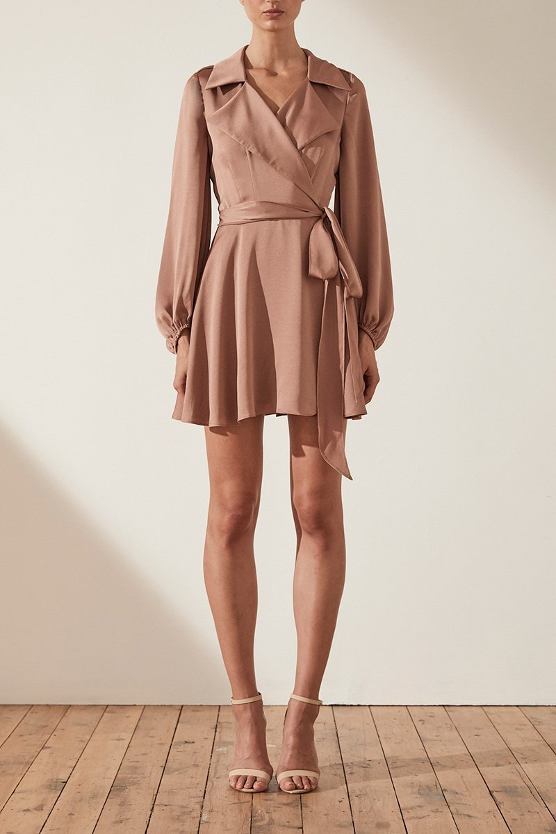 Shona Joy Sawyer Trench Mini Dress in Cocoa - Lookbook Boutique