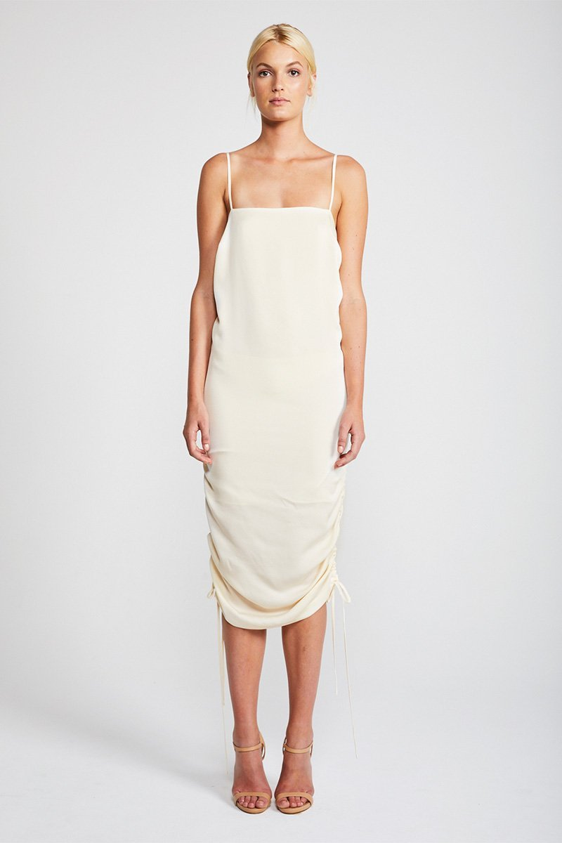 Shona Joy Solar Ruched Slip Midi Dress in Vanilla - Lookbook Boutique