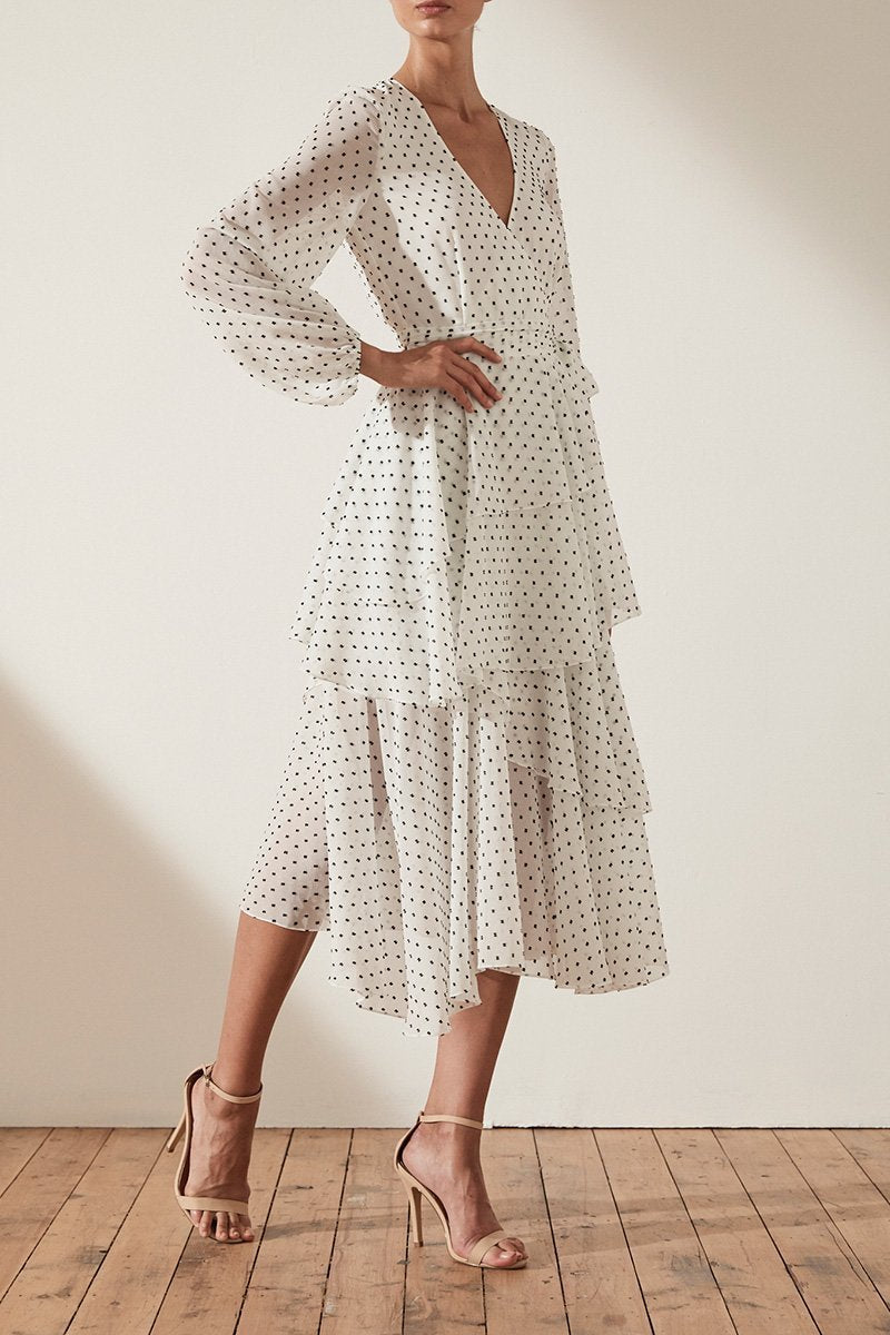Shona Joy Wilder Tiered Midi Dress in White Spot - Lookbook Boutique