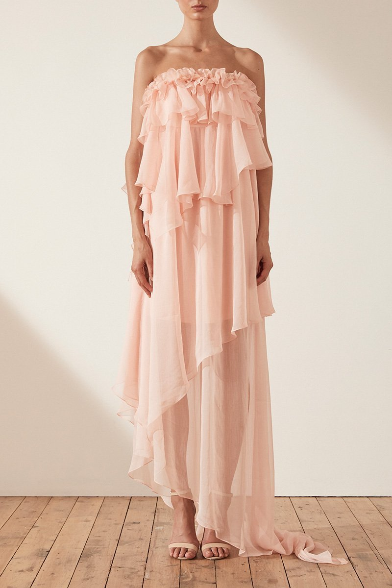 Shona Joy Willow Asymmetric Maxi Dress With Petal Trim in Blush-Lookbook Boutique