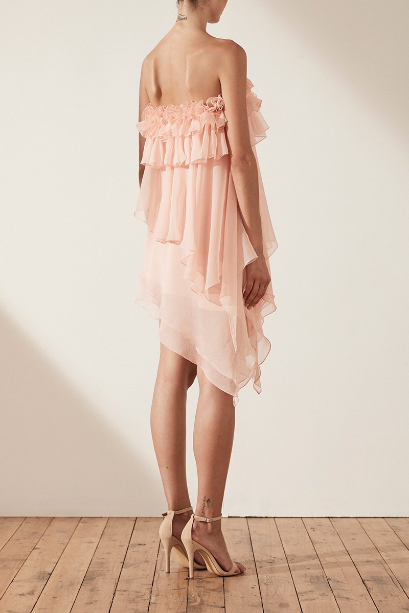 Shona Joy Willow Asymmetric Mini Dress With Petal Trim in Blush-Lookbook Boutique