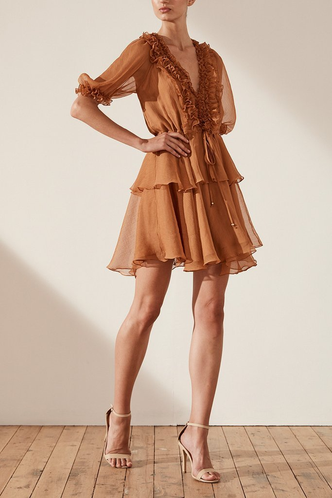 Shona Joy Yoryu Puff Sleeve D/String Mini Dress in Toffee-Lookbook Boutique