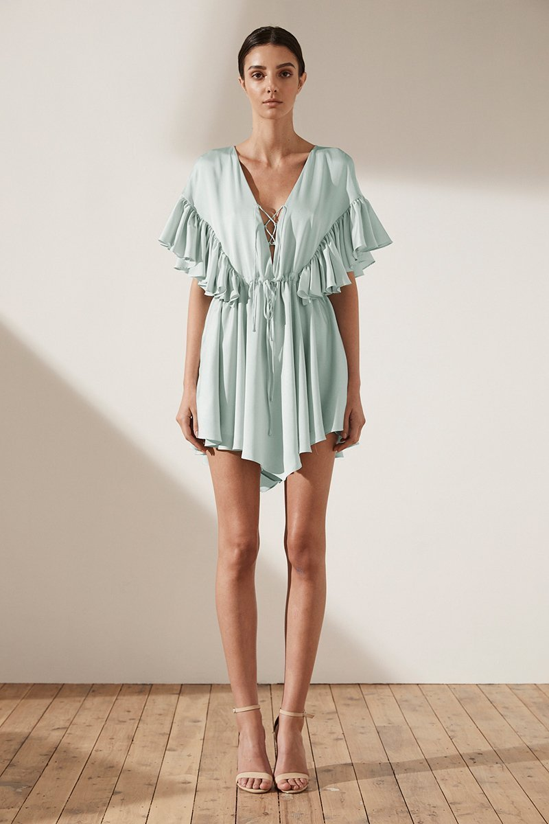 Shona Joy Zephyr Ruffle Lace Up Front Mini Dress in Seafoam - Lookbook Boutique