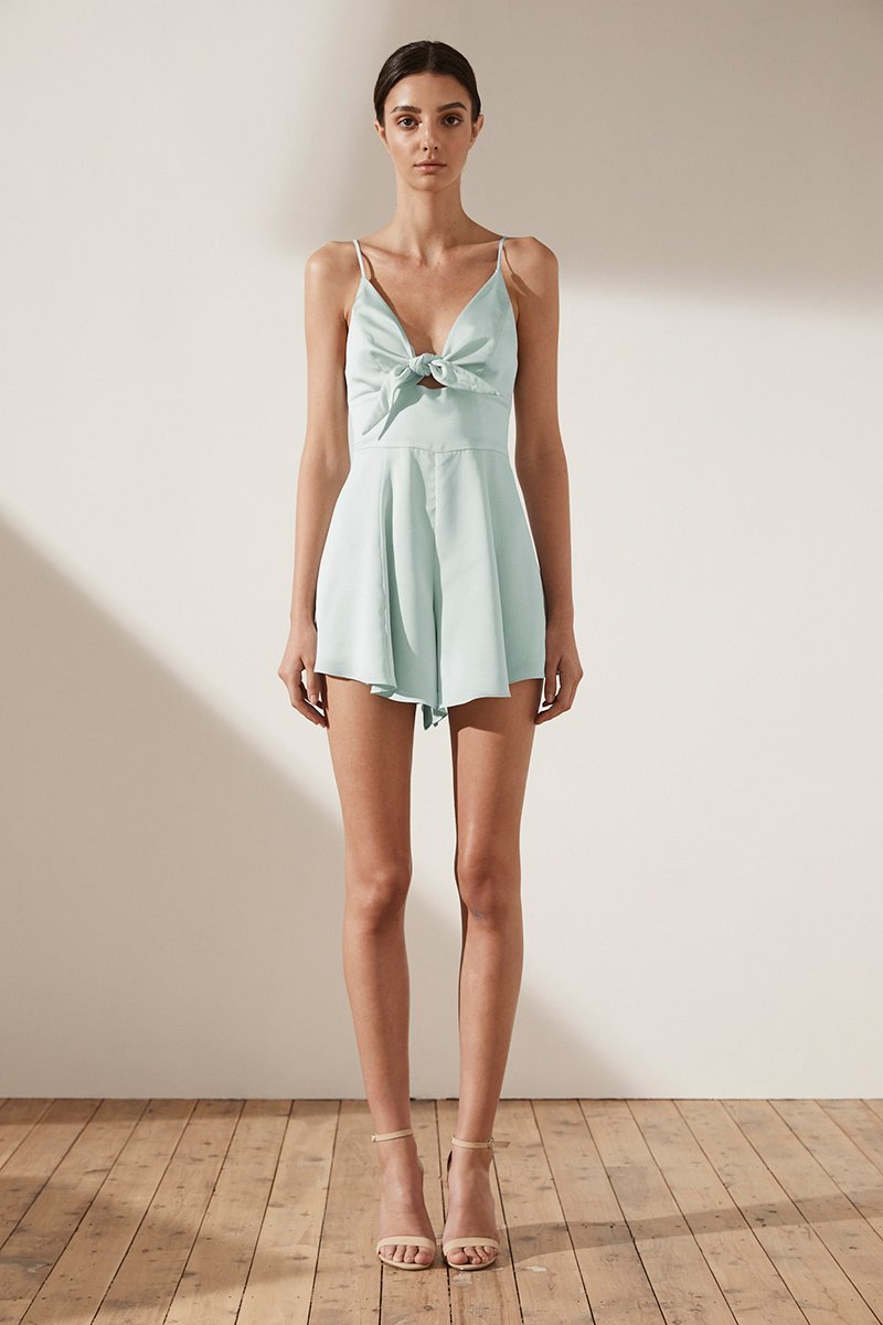 Shona Joy Zephyr Silk Touch Tie Front Playsuit in  Seafoam - Lookbook Boutique