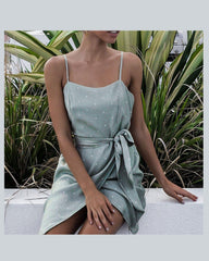 Style Collection Asymmetrical Tie Front Skirt Mini Dress in Sage Spot-Lookbook Boutique