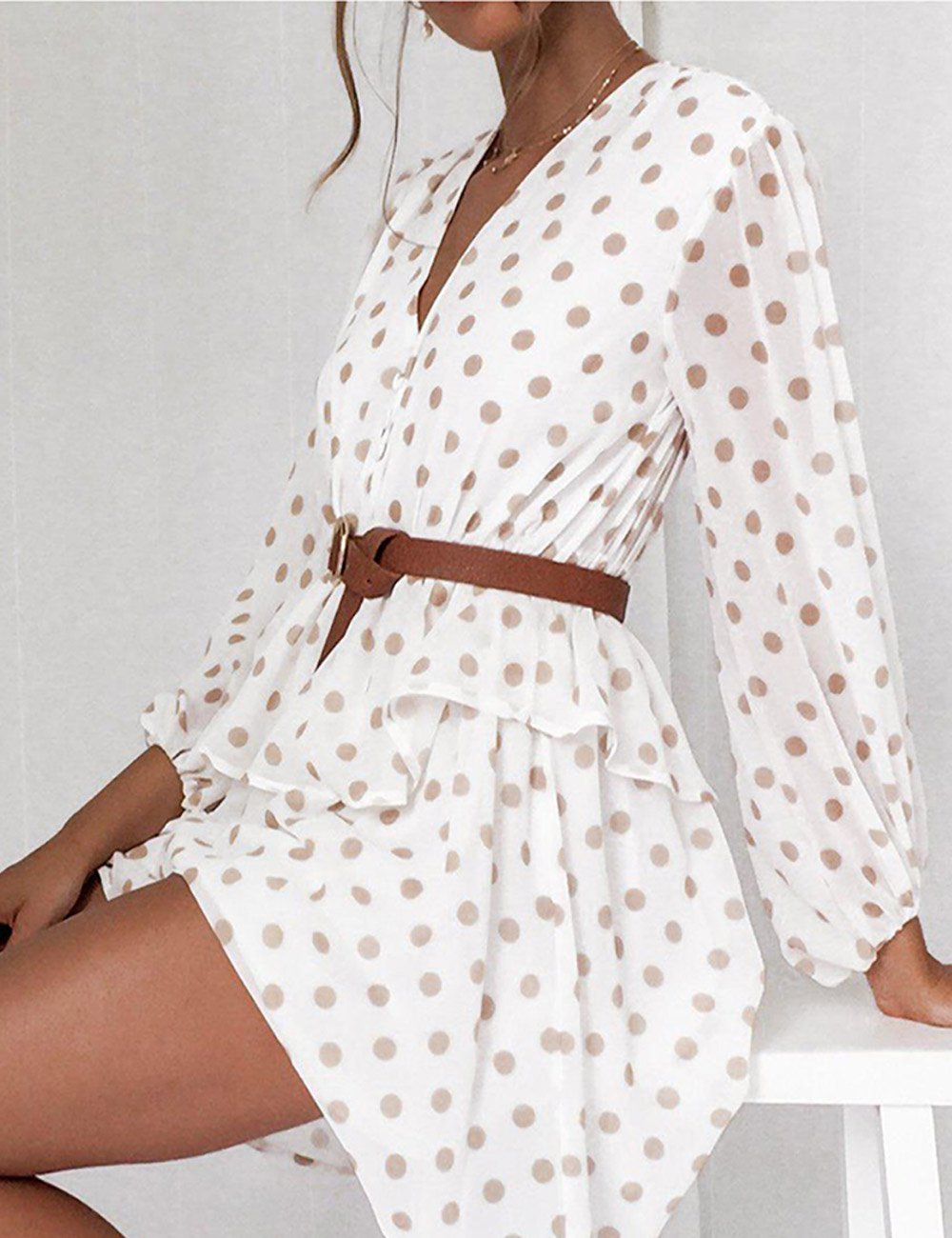 Style Collection Balloon Sleeve Waist Mini Dress in Nude Spot - Lookbook Boutique