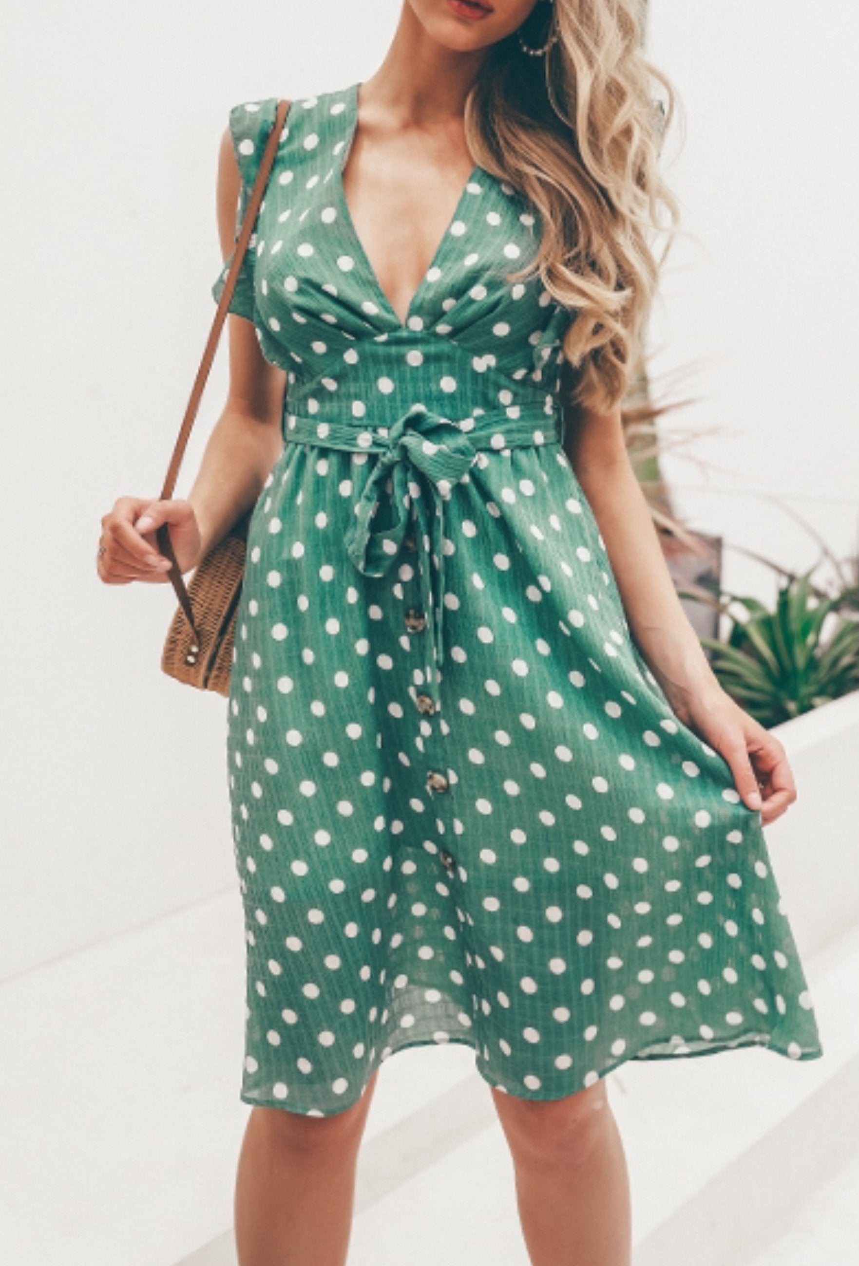 Style Collection Casual V Neck Button Front Midi Dress in Green Spot-Lookbook Boutique
