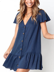 Style Collection Loose V Neck Button Front Mini Dress in Dark Blue