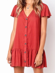 Style Collection Loose V Neck Button Front Mini Dress in Red