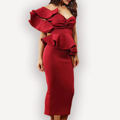Style Collection One Shoulder Ruffle Sleeve Fitted Midi Dress in Dark Red - Lookbook Boutique