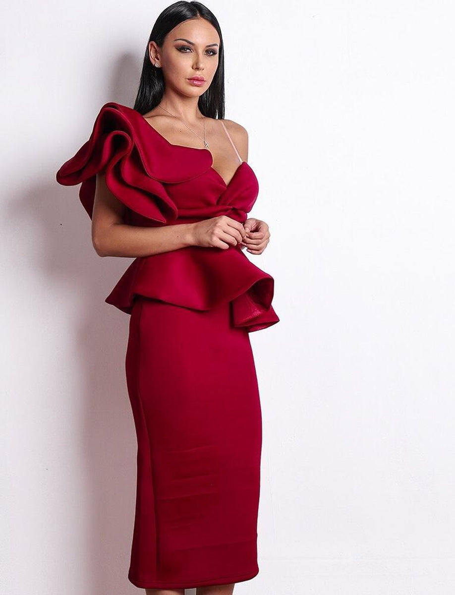 514ba942707ae ... One Shoulder Ruffle Sleeve Fitted Midi Dress in Dark Red - Lookbook  Boutique. Size
