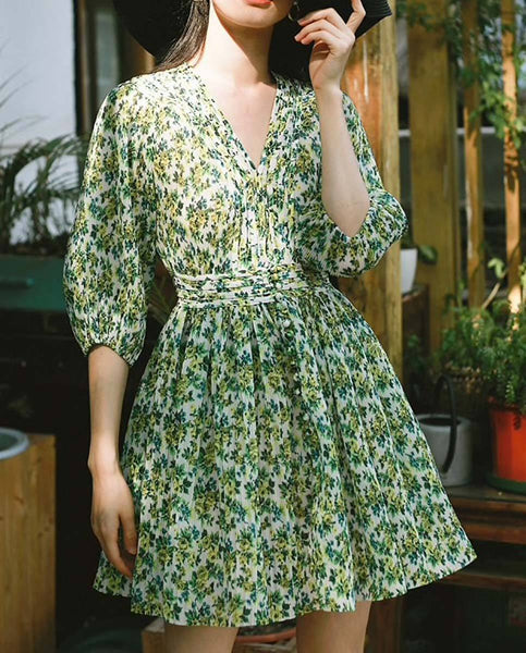 Style Collection Plunge Neck Puff Sleeve Accordian Pleat Mini Dress in Lemonade Floral-Lookbook Boutique