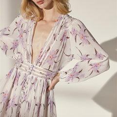 Style Collection Plunge Neck Puff Sleeve Accordian Pleat Mini Dress in Violet Floral-Lookbook Boutique