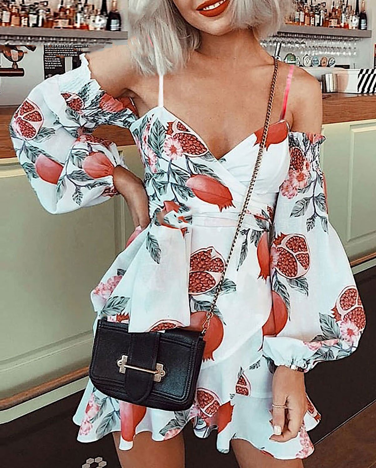 Style Collection Pomegranate OTS Balloon Sleeve Ruffle V Neck Mini Dress in Print - Lookbook Boutique