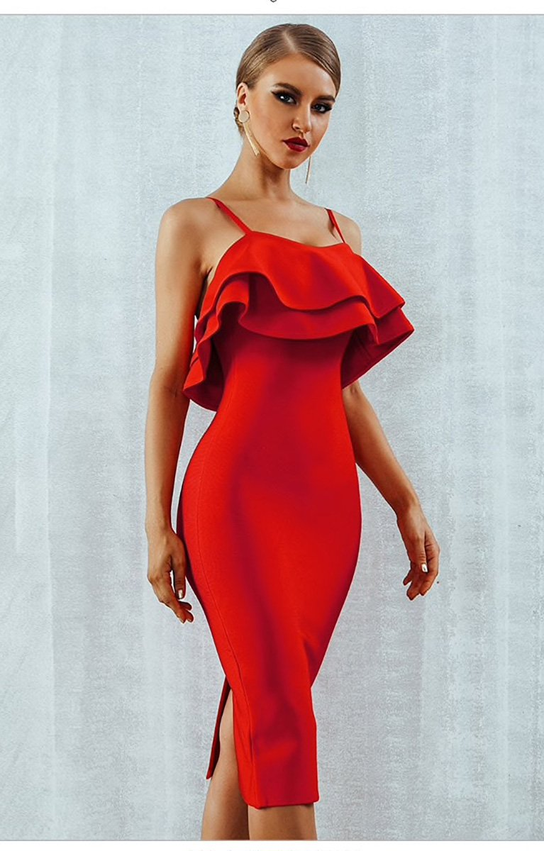 Style Collection Ruffle Front Fitted Stretch Midi Dress in Red - Lookbook Boutique