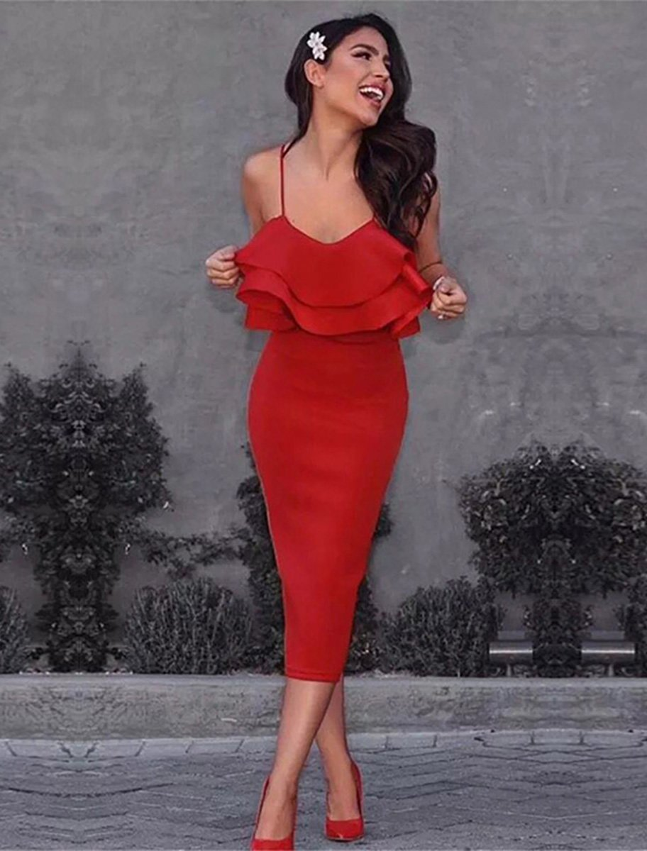 Style Collection Ruffle Front Fitted Stretch Midi Dress in Red-Lookbook Boutique