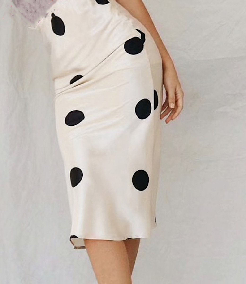 Style Collection Satin A Line Skirt in Ivory with Black Spot-Lookbook Boutique