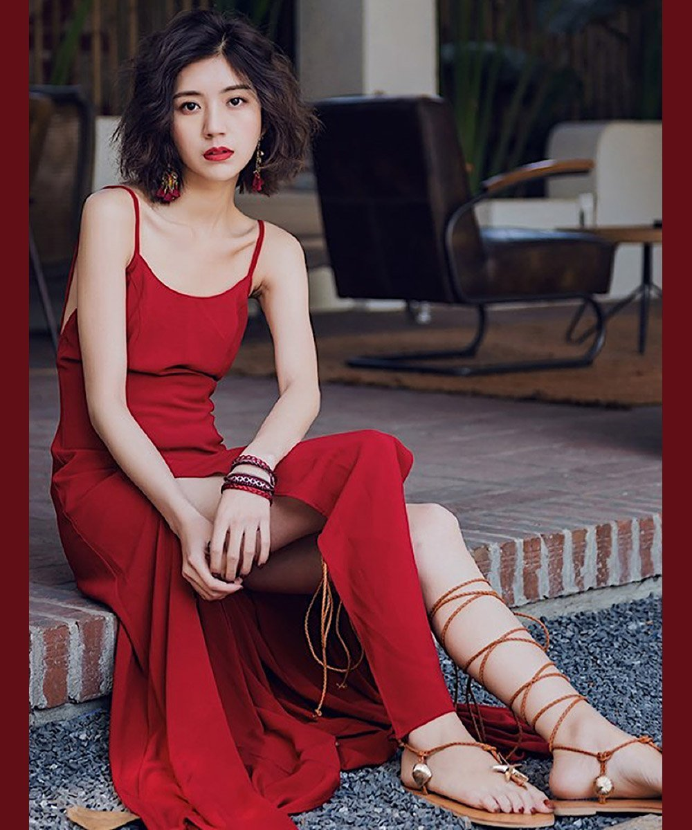 28606183d87a Style Collection Spaghetti Strap Midi Slip Dress in Red – Lookbook ...