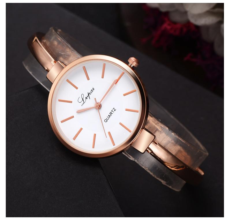 The Bracelet -  Rose Gold 3.5cm Round Face Bracelet Watch - Lookbook Boutique