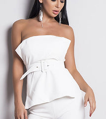 The Epic Strapless Belted Bustier in White - Lookbook Boutique