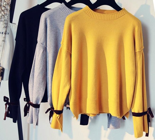The Essentials Crew Neck Knit With Velvet Wrist Ties-Lookbook Boutique